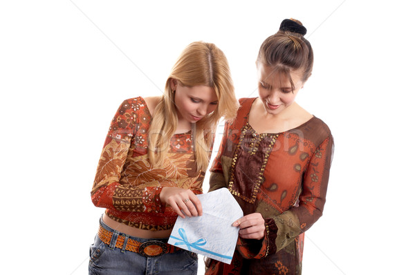 Girls with envelope Stock photo © zastavkin