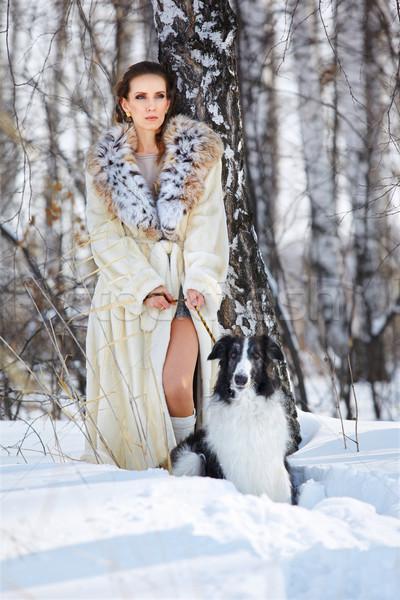 woman with wolfhound outdoors Stock photo © zastavkin