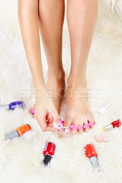 ног палец выстрел здорового педикюр Сток-фото © zastavkin