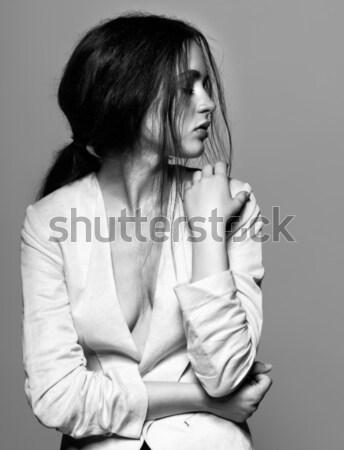 Fille Creative coiffure coiffure portrait belle Photo stock © zastavkin