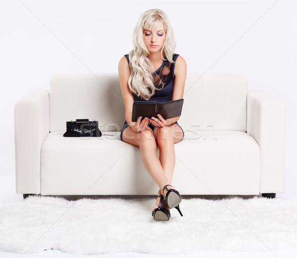 girl with e-book Stock photo © zastavkin