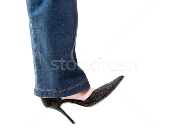 Chaussures noir isolé bleu dame style Photo stock © zastavkin