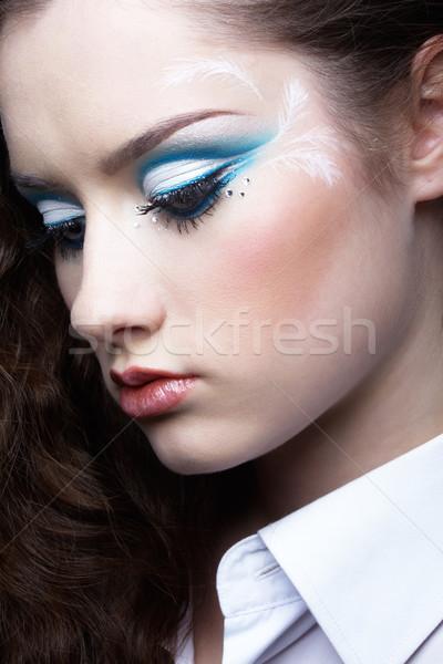 Zdjęcia stock: Piękna · dziewczyna · portret · młodych · piękna · kobieta · biały · shirt