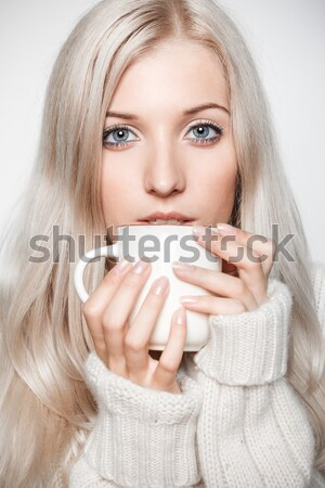 Stock photo: woman with cup of coffee