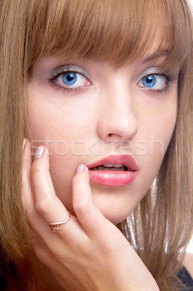 attractive blue-eyed woman Stock photo © zastavkin