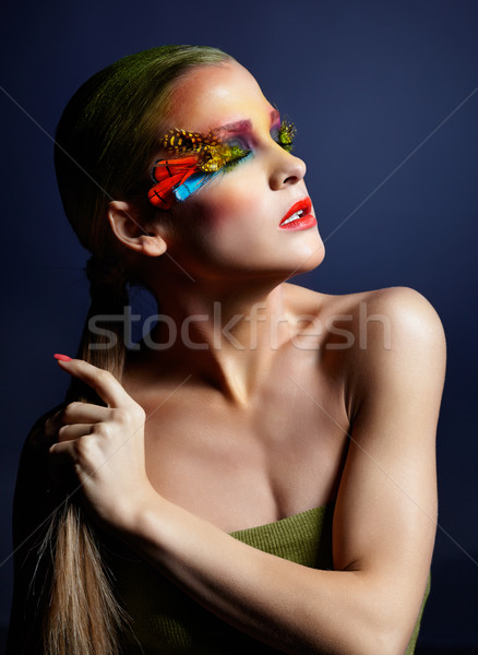 Photo stock: Femme · mode · plumes · maquillage · lumineuses