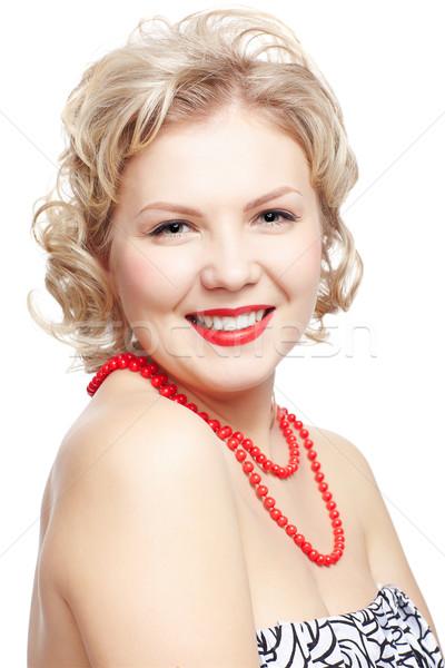 Szőke nő méret meg modell izolált portré Stock fotó © zastavkin