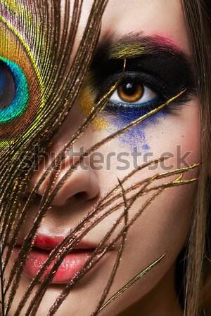 Gyönyörű fiatal nő portré kreatív hajviselet nő Stock fotó © zastavkin