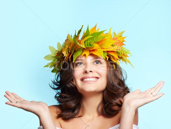 girl in autumn garland Stock photo © zastavkin