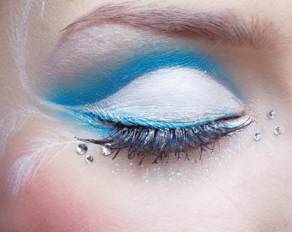 Zdjęcia stock: Kobieta · oka · makijaż · niebieski · biały · twarz