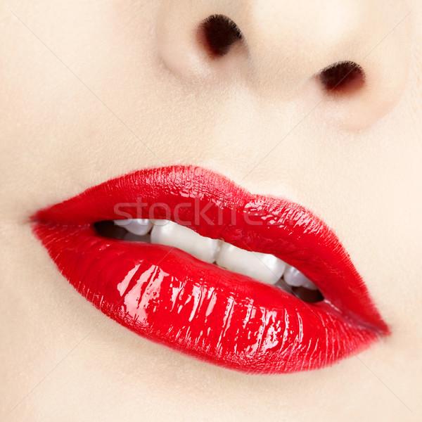 Photo stock: Coup · lèvres · lèvres · rouges · visage · beauté