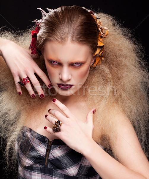 Хэллоуин красоту женщину макияж стиль девушки Сток-фото © zastavkin