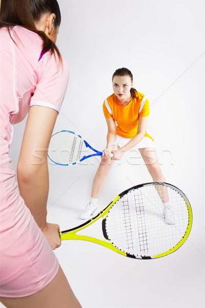 Tênis retrato dois meninas jogadores Foto stock © zastavkin