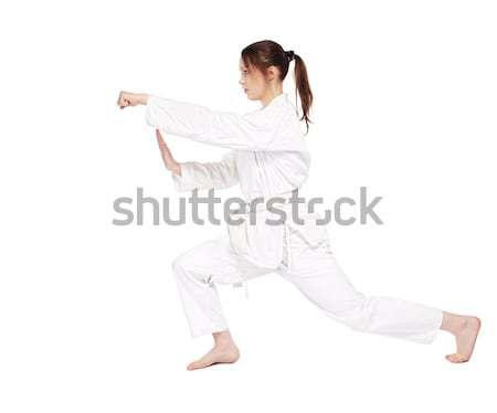 Karaté fille isolé portrait belle arts martiaux Photo stock © zastavkin