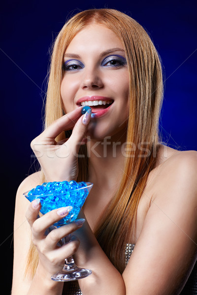 beautiful redhead girl  with gel balls Stock photo © zastavkin