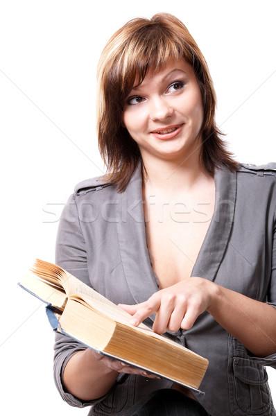 Fille livre jeune fille isolé blanche main Photo stock © zastavkin