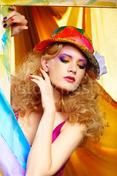 Сток-фото: женщину · художник · портрет · красивая · женщина · волос · красоту