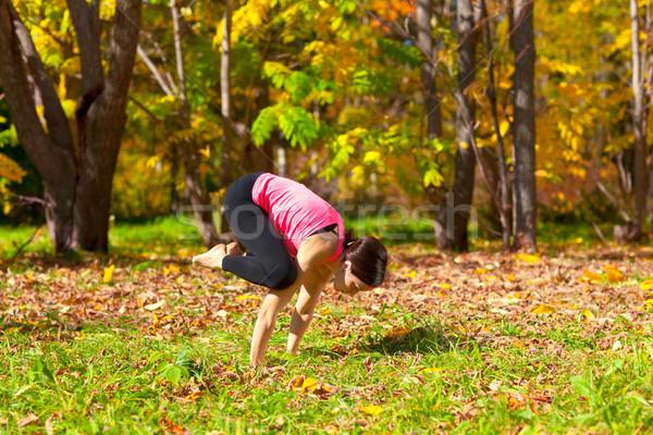 Yoga bakasana pose Stock photo © zastavkin