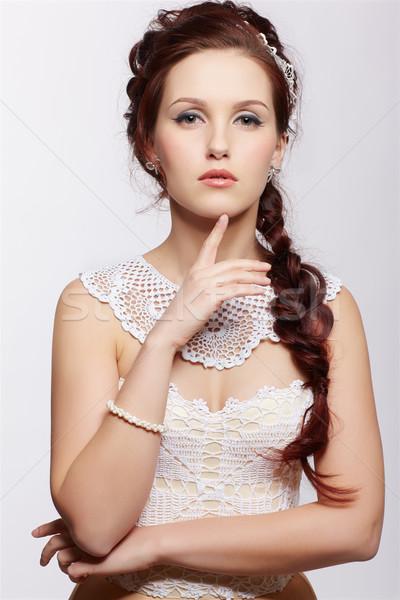 Mooie retro meisje portret jonge vrouw Stockfoto © zastavkin