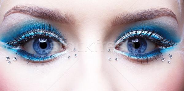 Stock fotó: Nő · szem · smink · kék · fehér · arc