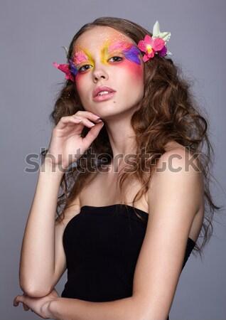 モデル 肖像 美しい ポーズ 赤いバラ ストックフォト © zastavkin