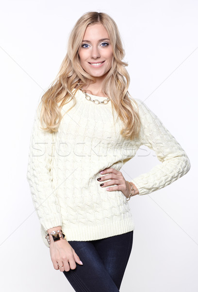 Long-haired  girl in sweater Stock photo © zastavkin