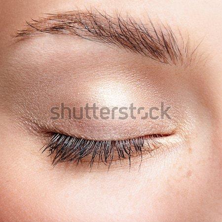 Ajkak smink közelkép testrész portré gyönyörű Stock fotó © zastavkin