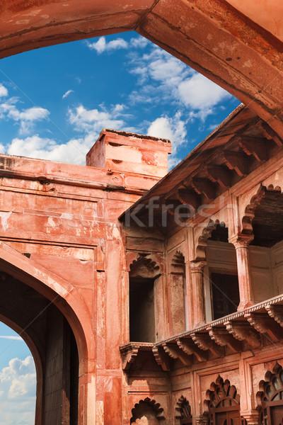 красный песчаник внутренний форт здании синий Сток-фото © zastavkin
