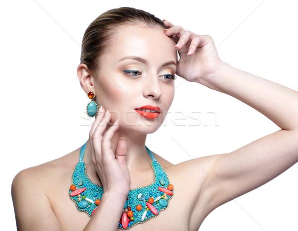 Stok fotoğraf: Güzel · sarışın · kadın · bijuteri · yalıtılmış · beyaz · kız
