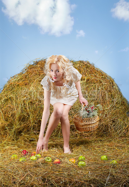 country girl on hay Stock photo © zastavkin
