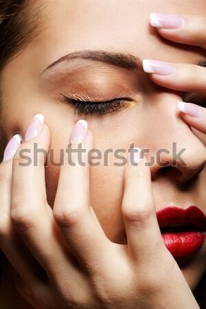 Stock fotó: Közelkép · gyönyörű · lány · portré · fiatal · gyönyörű · nő · szemek