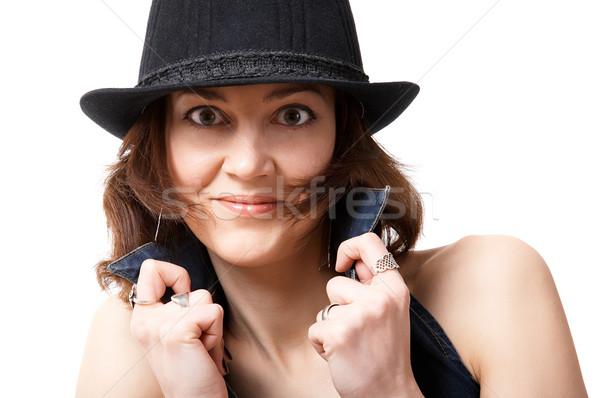 Femme chapeau jeune femme isolé noir sourire Photo stock © zastavkin
