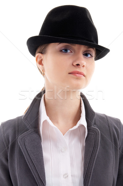 girl in black hat Stock photo © zastavkin