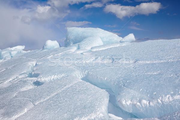 зима льда пейзаж озеро небе синий Сток-фото © zastavkin