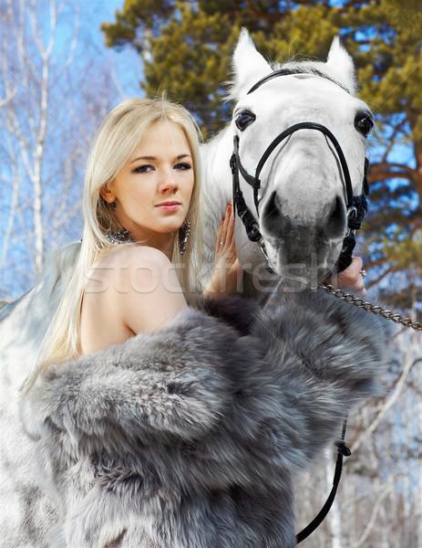 Stock fotó: Gyönyörű · lány · ló · szabadtér · portré · gyönyörű · szőke · nő