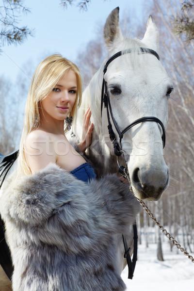 Stockfoto: Vrouw · paard · jonge · blond · mooie · vrouw · licht