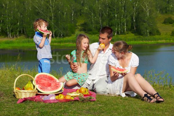 Család piknik park szabadtér csoport portré Stock fotó © zastavkin