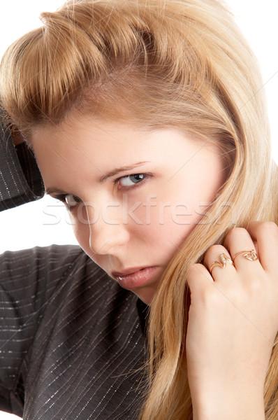 Girl on white background Stock photo © zastavkin