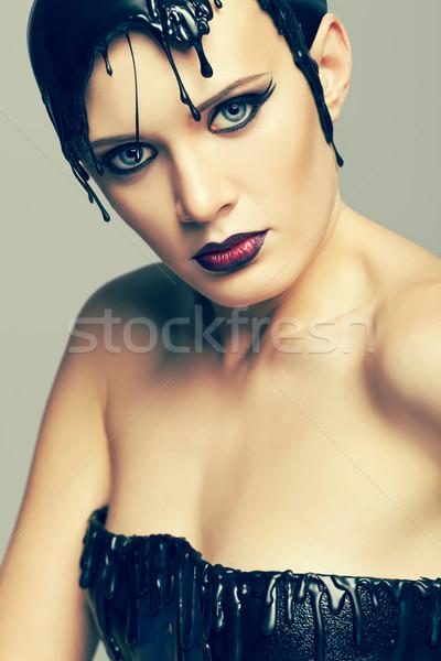 Kobieta sukienka winylu dysku dziewczyna twarz Zdjęcia stock © zastavkin