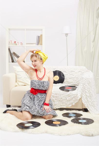 Blonde vrouw portret mooie glimlachend jonge Stockfoto © zastavkin