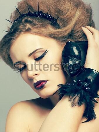 Belo mulher jovem retrato criador penteado mulher Foto stock © zastavkin