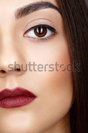 Photo stock: Coup · visage · de · femme · jeunes · brunette