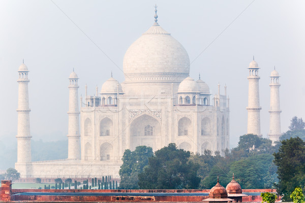 Photo stock: Taj · Mahal · Inde · misty · matin · caché · pâle