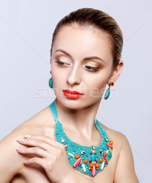 美しい 宝石類 グレー 女性 モデル ストックフォト © zastavkin