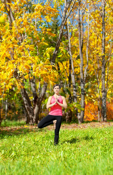 Yoga Vrikshasana Tree Pose Stock photo © zastavkin