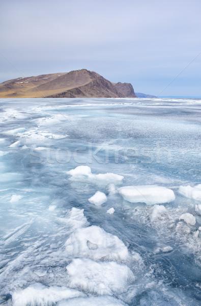 Kış açık görmek kaya dondurulmuş göl Stok fotoğraf © zastavkin