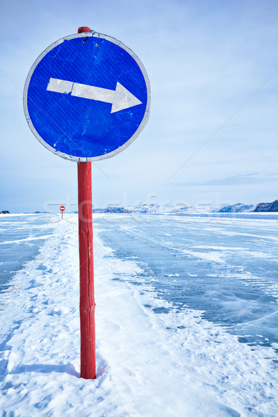 Trafik işareti buz uyarı bulutlar yol doğa Stok fotoğraf © zastavkin