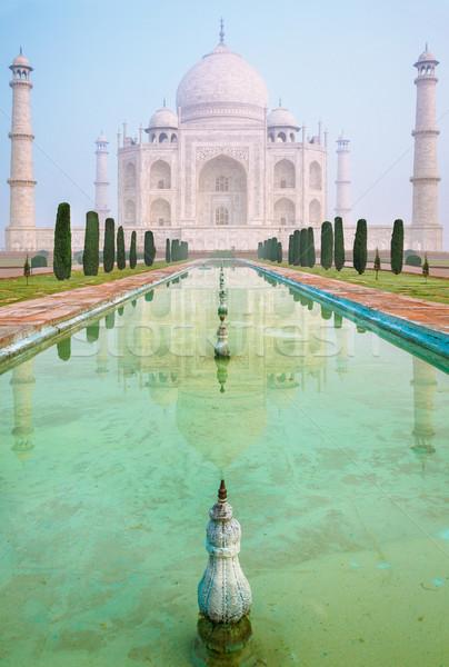 Taj Mahal rano mgły Indie blady niebo Zdjęcia stock © zastavkin