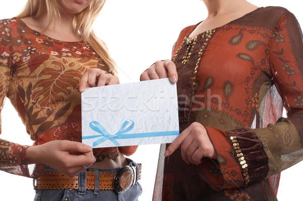 девочек конверт молодые довольно рук женщины Сток-фото © zastavkin