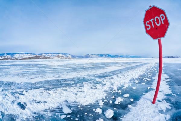 Stop traffic sign on Baikal Stock photo © zastavkin